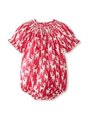 65% OFF Vive La Fete Kid's Reindeer Smocked Bubble Romper (Hot Pink)