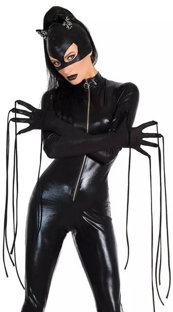 30987a7c5d6 Halloween Sexy Mask Cat Women Cosplay Costumes Black Stretch PVC Clubnight Jumpsuits  Size M XL Bodysuits Adult