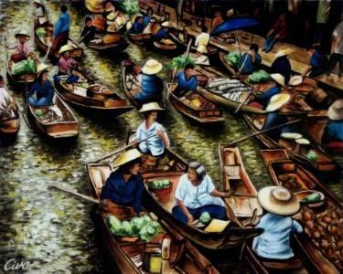 "Saatchi Art Artist Dan Civa; Painting, ""Floating Market, Bangkok, Thailand - No.M."" #art"