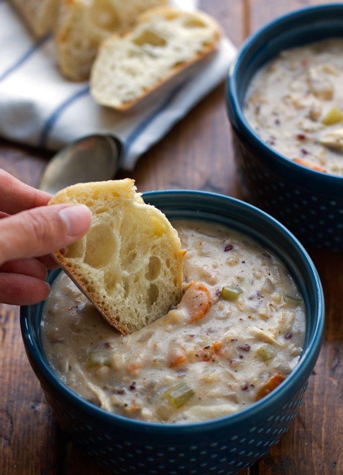 Creamy Chicken Wild Rice Soup {Slow Cooker} Recipe | Little Spice Jar