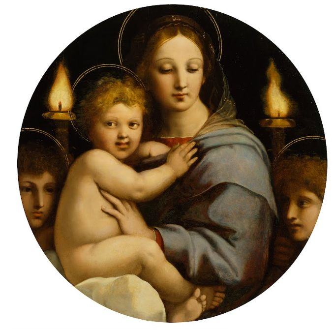 Raffaello, Madonna del Candelabro, olio su tela, c. 1513. Baltimora, The Walters Art Museum.