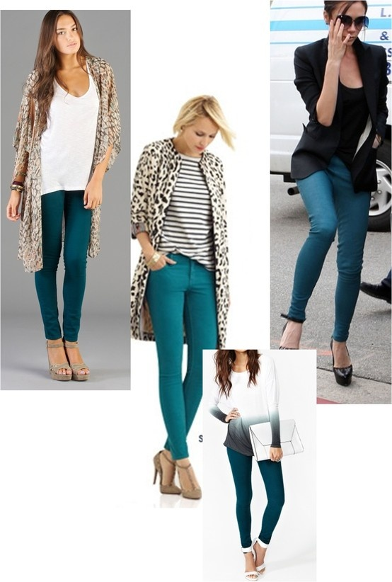 Fall 2013 Fashion Trend Teal Skinny Jeans