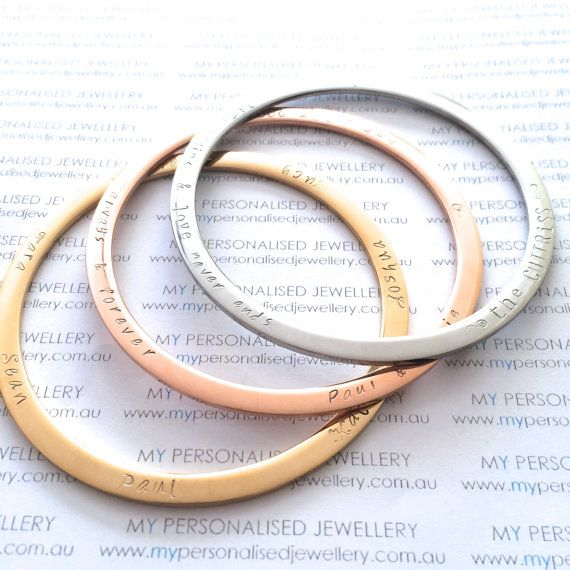 Rose gold yellow gold silver Personalised handstamped bangles for mum grand ma aunt family names Wedding gifts #bangle #bracelet