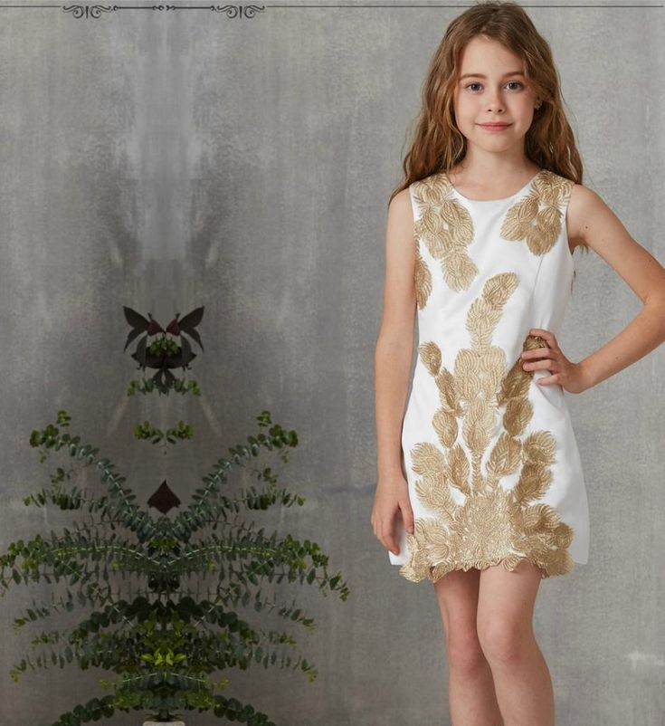 Embroidered Floral Dress-Made To Order - High Quality Elegant Gold Embroidery Flower Applique Round Neckline Sleeveless Above The Knee - Knee Length Little & Big Girl Party Dress. Available from 5 until 13 years. Material: Cotton. Colors: White, Pink & Black. Please do compare your little girl's measurements with our size chart.