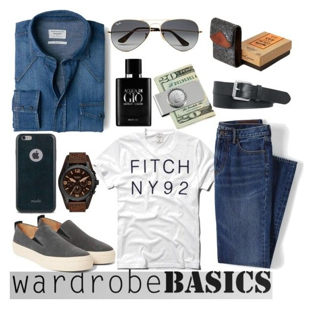 """Wardrobe Basics"" by clotheshawg ❤ liked on Polyvore featuring MANGO, Abercrombie & Fitch, Lands' End, Ray-Ban, American Coin Treasures, Polo Ralph Lauren, Moshi, Giorgio Armani, River Island and Dries Van Noten"
