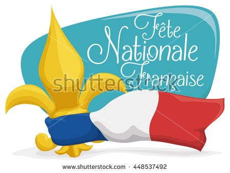 Postcard with a golden fleur-de-lis, tricolour flag of France and greeting sign for French National Day.