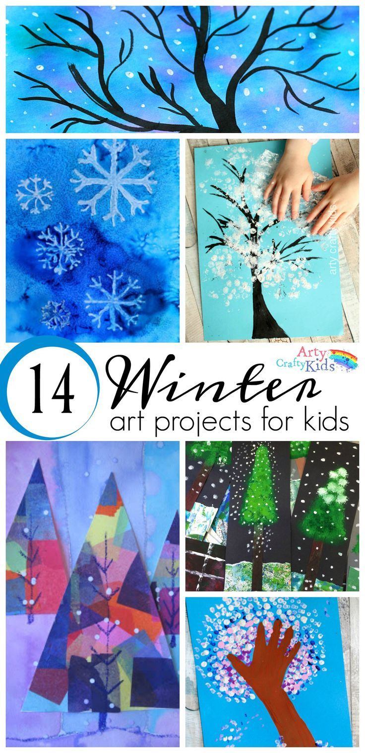 16 Winter Art Projects for Kids. A selection of gorgous snowy Winter art projects for kids using various process art tehniques to keep the kids busy this Winter.