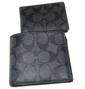 Coach-Men-039-s-F74993-Compact-ID-Signature-Charcoal-Black-PVC-Wallet-NWT-175