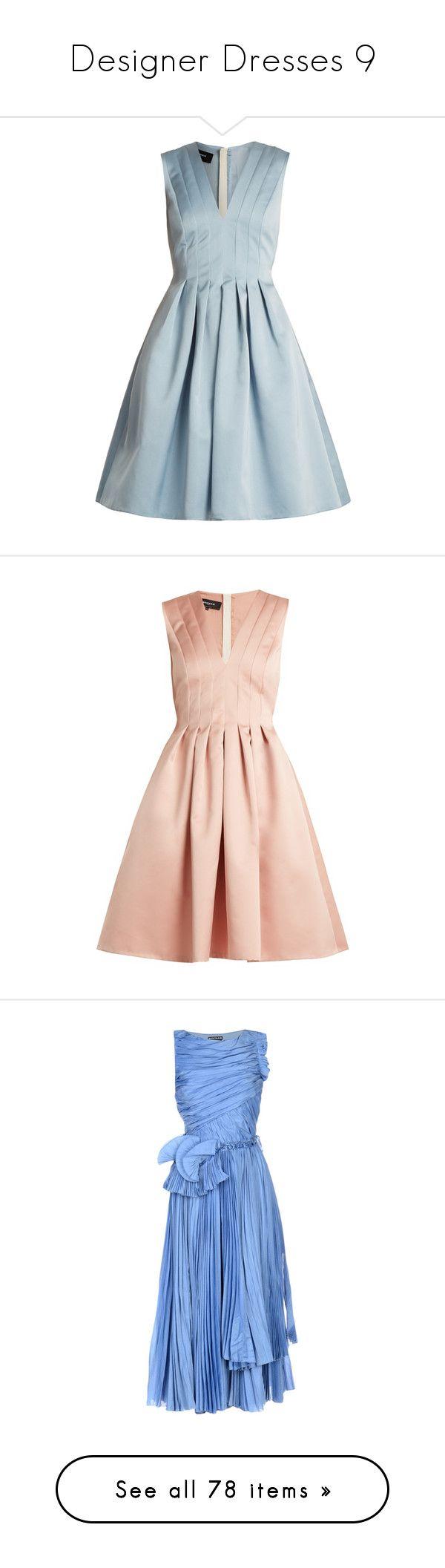 """Designer Dresses 9"" by mickeysmit ❤ liked on Polyvore featuring dresses, light blue, flared pleated skirt, light blue skater skirt, floral printed dress, light blue floral dress, v-neck dresses, light pink, skater skirts and v neck dress"