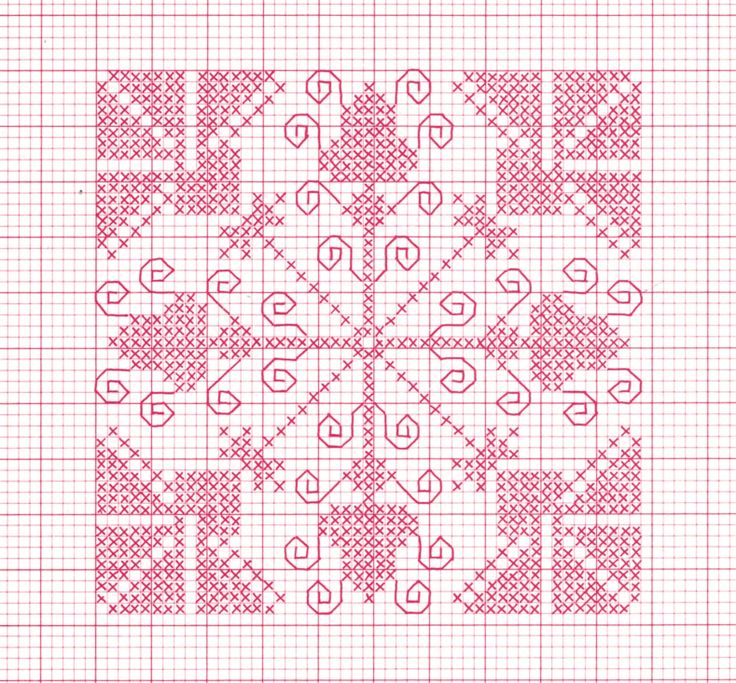 Cross-stitch Biscornu  ... no color chart available, just use pattern chart as your color guide.. or choose your own colors...