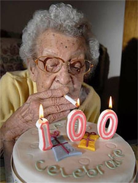 There's one advantage to being 100. There's no peer pressure.