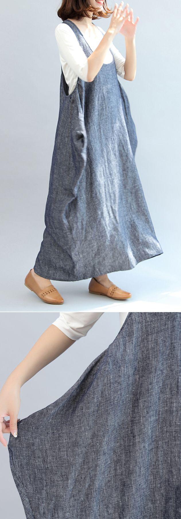 blue gray  cotton  plus size casual sleeveless maxi dress