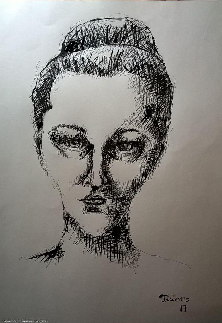Desenho de Ticiano Souza - Retrato De Uma Mulher - Desenho bico-de-pena feito com caneta esferográfica e nanquim - 2017