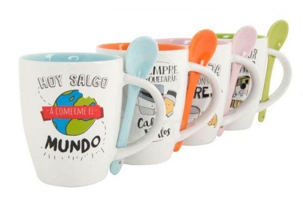 Taza con Cuchara Frases - Taza de ceramica Frases, con cucharita, surtidos entre los 4 colores segun disponibilidad.
