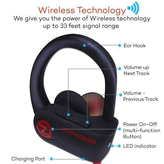 Amazon.com: Wireless Bluetooth Headphones Zeus IMPROVED 2017 - Best Wireless Earbuds w/ Mic Noise Cancelling - Workout Headphones - Running Headphones - Sport Headphones - IPX7 Waterproof Headphones for Women Men: Cell Phones & Accessories
