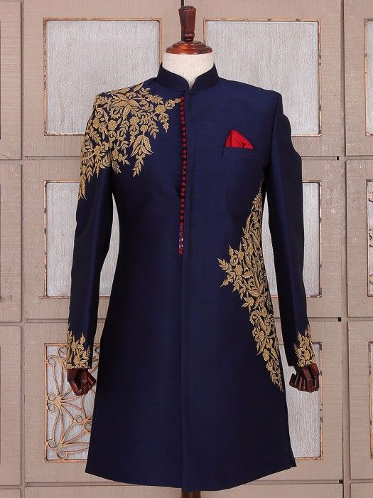 Shop Navy blue silk wedding wear indo western online from G3fashion India. Brand - G3, Product code - G3-MIW2145, Price - 13775, Color - Navy, Fabric - Silk,