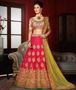 Buy Pink Bhagalpuri Silk Wedding Lehenga Choli 76932 online at best price from vast collection of Lehenga Choli and Chaniya Choli at Indianclothstore.com.