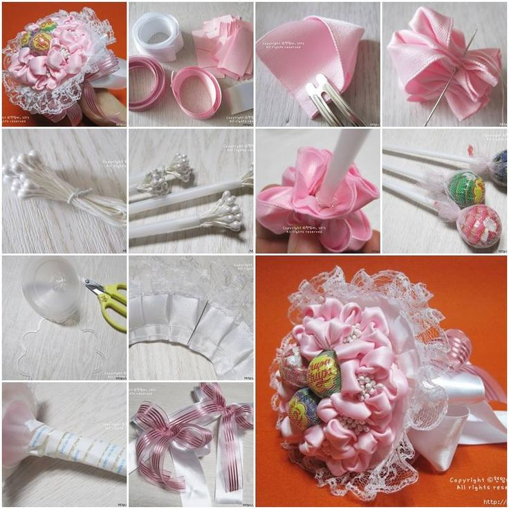 How To Make Ribbon And Lace Candy Bouquet Step By Step Diy