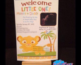 Rey León bebé ducha invitación por SGInvitations en Etsy