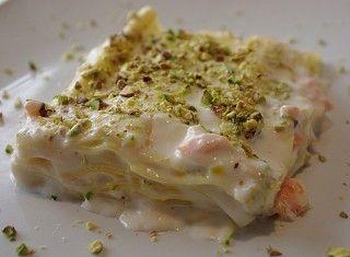 Lasagna al salmone affumicato e pistacchi