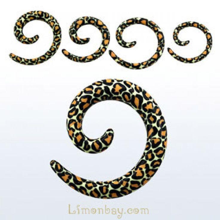 Taper, dilatador de acrílico. Diseño piel de serpiente en espiral. Varias medidas. Ideal para usar en tu dilatación de lóbulo, en tu oreja. Expansor animal print., 2.18