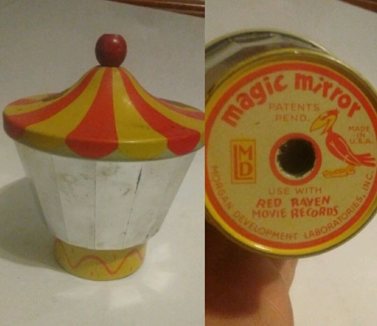 Vintage Magic Mirror Red Raven Movie Records Tin Toy Phonograph ! HTF !