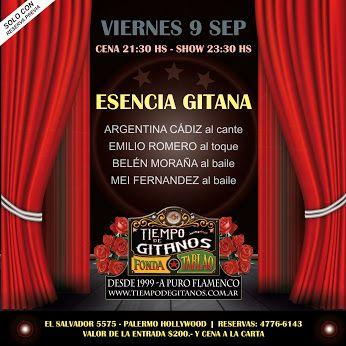 Mañana desde las 21 hs te esperamos a cenar y luego a disfrutar del show de ESENCIA GITANA!!  Reservas: 4776-6143