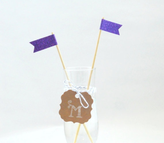 purple stir sticks12 pak  swizzle stick  weddings by magdalenarose, $7.00