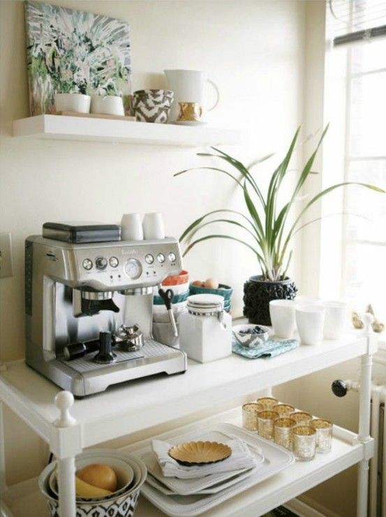 Great idea for repurposing a changing table....paint it and turn it into a coffee station table!