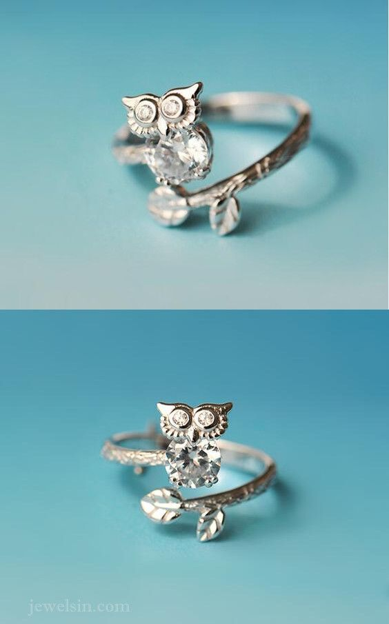fashion chic owl ring in 925 silver