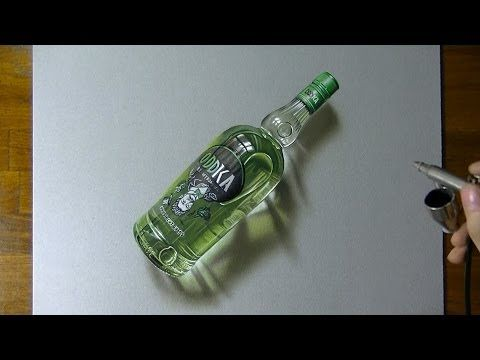 Drawing timelapse: a bottle of Oddka vodka - hyperrealistic art - YouTube