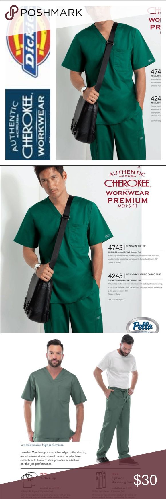 ⛑New Men Plus Size Cherokee Medical Uniform ⛑ ⭐️Selling New With Store Tags Cherokee Luxe Brand Medical Scrubs Sets ⭐️ Its one of the Softest Scrubs That I Sold The Most at My Business ⭐️The only sizes that I have is a 4x & 5 X Mens.. Can be also be worn for Women⭐️ Top Style is 1929 & Bottom Style is 1022 ⭐️ The Bottoms have a Zipper so that a Plus 👍🏼.. & hast Elastic on the back side and string on the Front Side ⭐️I only have them in Green ⭐️ Cherokee Other
