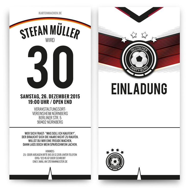 Einladungskarten Als Deutschland Trikot #geburtstag #einladung  #geburtstagseinladung #fußball #deutschland #trikot