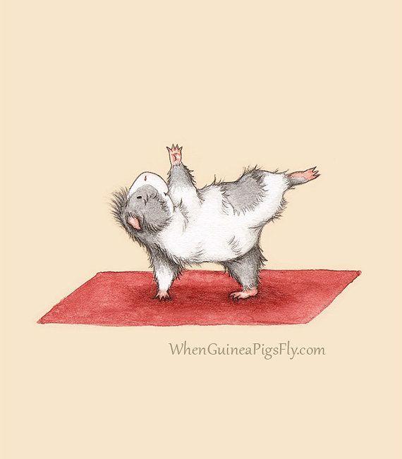 Half Moon - Yoguineas Collection - Cute Guinea Pig Yoga Art Print on Etsy, $10.00