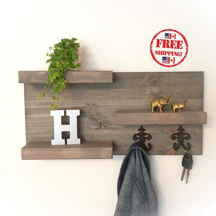 Wood Organizer Floating Shelf with Hooks / Rustic Shelves / FREE SHIPPING #bathroom #coathooks #woodfloatingshelf