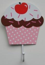 kapstokhaakje cupcake licht roze