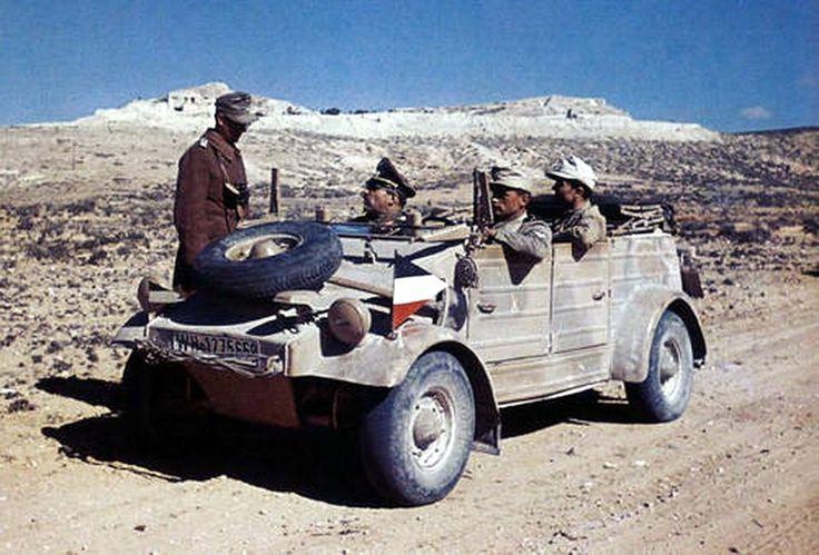 An Afrikakorps' VW KdF Kübelwagen Typ 82 near the Akarit defensive line, the…
