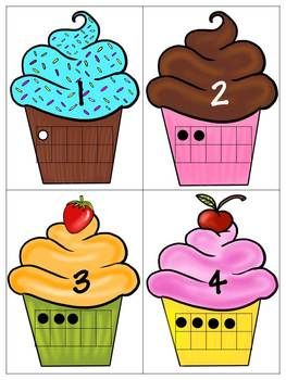 Here's a cupcake-themed activity for matching numerals to ten frames. Includes numbers 1-10.
