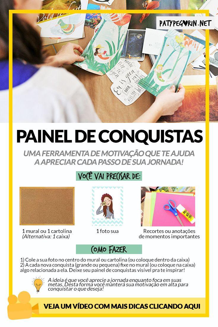 Como fazer seu painel de conquistas - Mural de Conquistas  Veja um vídeo sobre Painel de Conquistas em http://patypegorin.net/painel-de-conquistas/