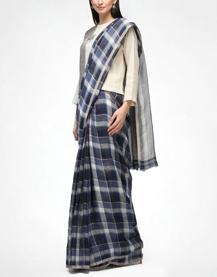 Indigo Plaid Linen Sari - ANAVILA -  Pinned by Sujayita