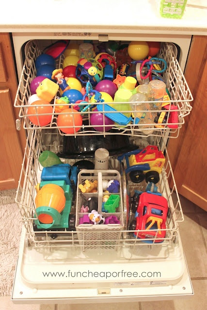 Put plastic toys in the dishwasher. It worked well; we just have a lot of electronic or soft fabric toys I couldn't wash this way.