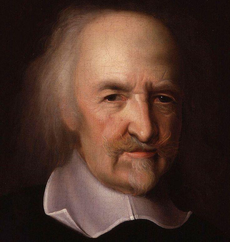 Thomas Hobbes is geboren op 5 april 1588 en is gestorven op 4 december 1679. Volgens Thomas wou de mens alleen maar overleven. Men wordt concurrenten. Iedereen kiest zichzelf boven anderen. Homo homini lapus est. De mens is voor zijn medemens een wolf.  Alleen een sterke koning kan voorkomen dat de mens uitsterft.