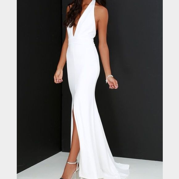 Lulus white halter dress FINAL DAY!!!Dress is sold out in every size!!Beautiful dress I bought for rehearsal dinner but decided on something else, it's halter with a slit up the front with a train. Gorgeous!! Lulu's Dresses Maxi