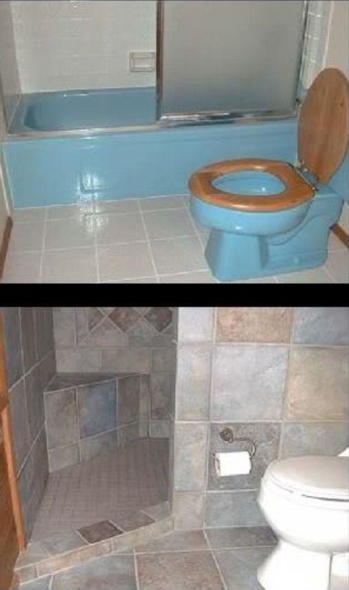A door-less walk in shower that can be done in small spaces... oh i love this