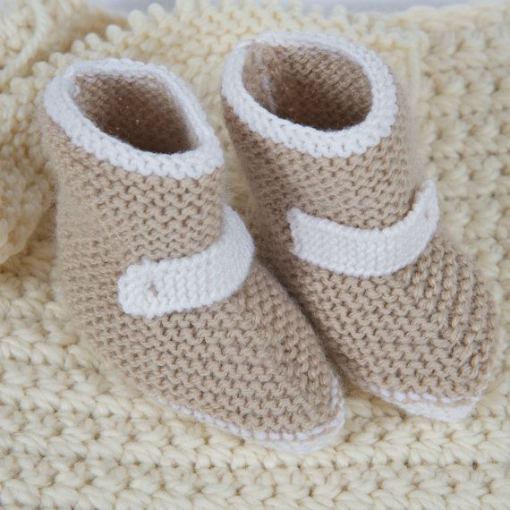 Baby Booties, Handmade, Knit Baby Clothes, New Baby Gift, Infant Clothing, Gender Neutral Slippers