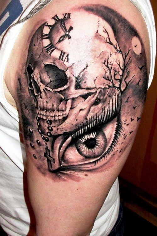 Clock skull designs of upper arm tattoos body canvas for Subtle male tattoos