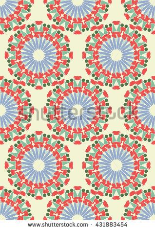 Vector seamless  pattern. Tribal style. Elegant colorful background with circular ornament.