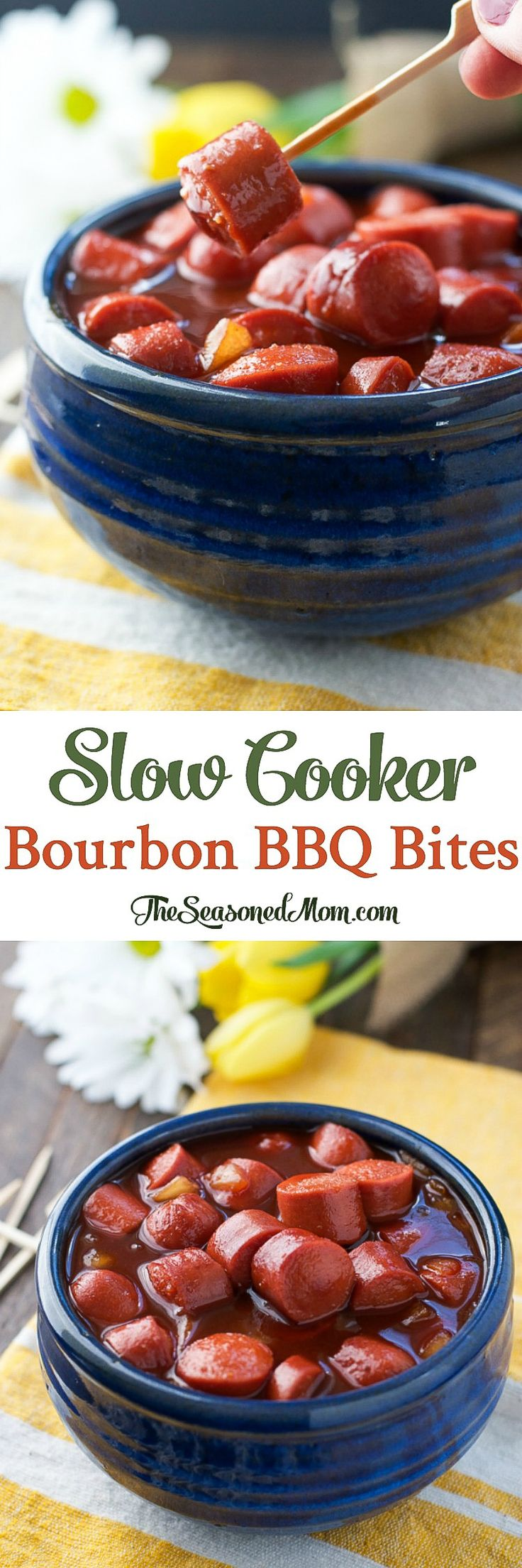 These 10-minute Slow Cooker Bourbon Barbecue Bites are crowd-pleasing easy appetizers with Southern charm! Perfect for Game Day! #ad #TabletopTailgate