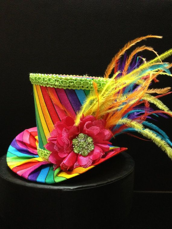 Rainbow Mini Top Hat for Dress Up, Birthday, Tea Party or Photo Prop. Rainbow Bright bustle gown outfit inspire.