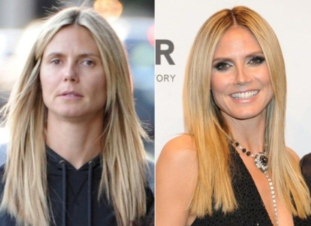 Heidi Klum | The Power of Makeup: Celebrities Before and After | Unbelievable Makeover Transformation by Makeup Tutorials at http://makeuptutorials.com/23-celebrities-before-and-after-makeup-transformations/